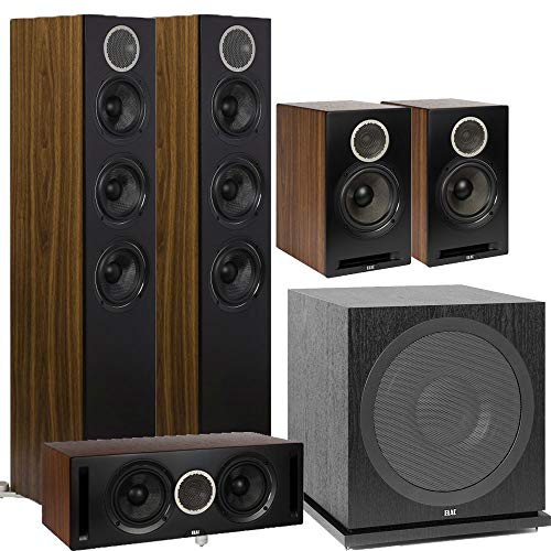 Check Out This ELAC 5.1 Channel Debut Reference DFR52 Floorstanding Home Theater Speaker System - Bl...