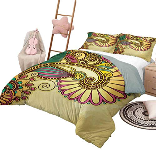 DayDayFun Quilt Set with Sheets Grunge Bedspread Bed Cover for All Season Paisley Flower and Leaf Design with Zen Floral Oriental Pattern Effects Queen Size Multi