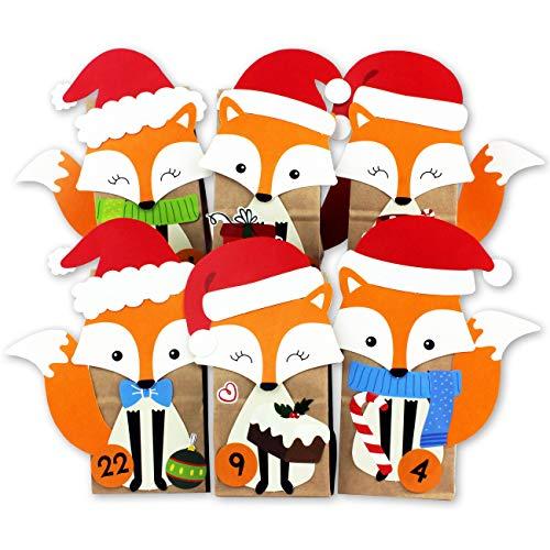 DIY Adventskalender zum Befüllen - ausgestanzte Füchse - mit 24 braunen Papiertüten zum selbst Befüllen und zum Selberbasteln - Weihnachten 2019 für Kinder
