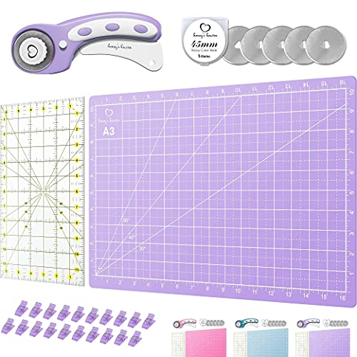 Rotary Cutter Set Lavender - Quilting Kit incl. 45mm Fabric Cutter, 5 Replacement Blades, A3 Cutting Mat, Acrylic Ruler and Craft Clips - Ideal for Crafting, Sewing, Patchworking, Crochet & Knitting