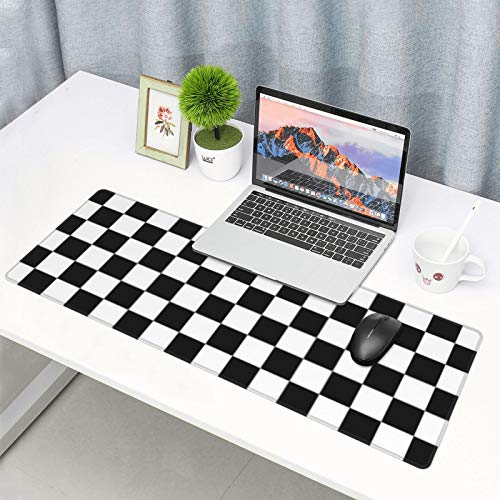 Extended Gaming Mouse Pad Checkered Black and White Large Mouse Mat Waterproof & Non-Slip Desk Mat XXL