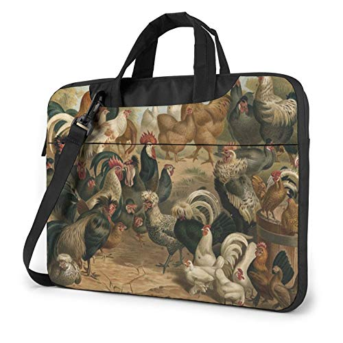 Chicken and Rooster Print Unisex Laptop Shoulder Bag Messenger Case for Computer Briefcase Carrying Sleeve