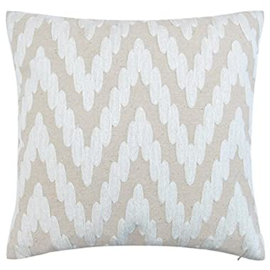 baibu Cotton Decor Accent Throw Pillow Case Embroidery Beige Cushion Cover Wave