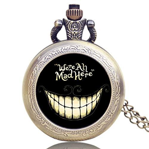 Vintage Pocket Watch, Bronze Alice in Wonderland Necklace Quartz Pocket Watch for Men Women, Pocket Watch Gift - JLySHOP