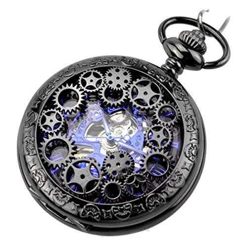JewelryWe Retro Zahnrad Ritzel Hohe Openwork Handaufzug Mechanische Taschenuhr Skelett Uhr Pullover Halskette Kette Schwarz