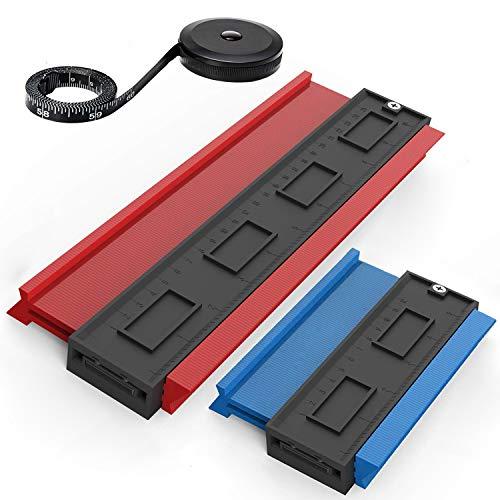 RENZCHU 型取りゲージ 輪郭ゲージ 3個セット 150cm 巻き尺/120mm/250mm コンターゲージ 曲線定規 形状/プラスチック製 タイルタイリング/カーペット/木材に適用 測定工具 測定ゲージ 測定ゲージ 不規則な測定器 コンターゲージ D