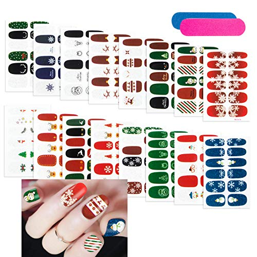 Christmas Nail Wraps, 16 Sheets Full Nail Art Polish Stickers with 2Pcs Nail Files (red)