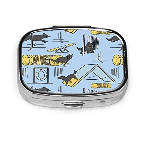 aangepaste gepersonaliseerde vierkante pillendoosje decoratieve doos vitamine container zak of portemonnee eenvoudige zwart en bicolor Duitse herder behendigheid honden blauw