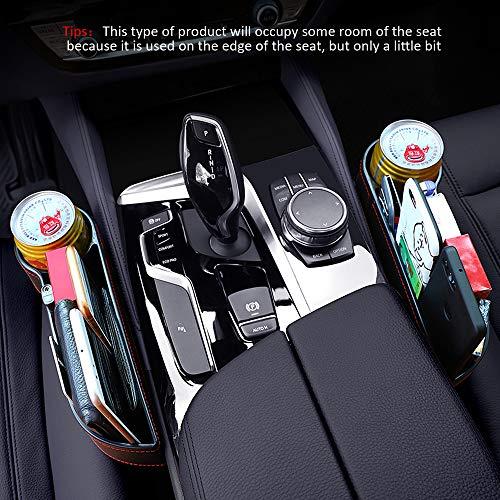 DKIIGAME Car Seat Organizer with Car Cup Holder,Car Seat Pockets Console Side Organizer Seat Gap Filler Storage Organizer Caddy (Black, Driver Seat)
