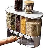 1 caja de almacenamiento de cubo de arroz sellada para cocina Contenedores de latas a prueba de humedad montados en la pared Dispensador de alimentos Sellado-Superior, 6 niveles