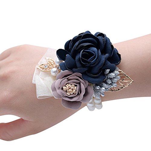 Fiwisora Satin Rose Wedding Bridal Corsage Bridesmaid Wrist Flower Corsage Flowers Pearl Bead Wristband for Wedding Prom Party Homecoming 2 pcs-Navy Wrist Corsage