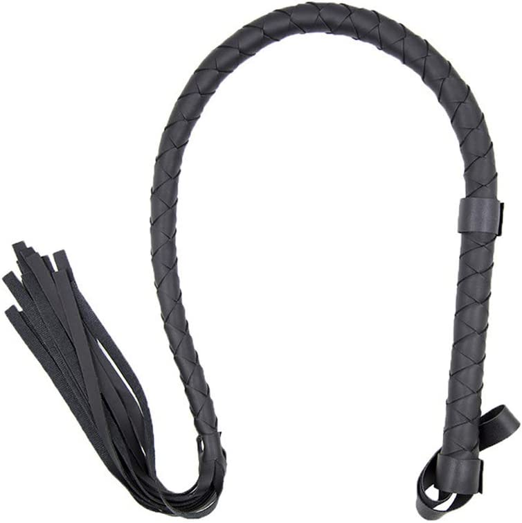 Metal Dragon 77th Handmade Heavy-Duty Braided Faux Leather Long Equestrianism Horse Training Tool Whip Bullwhip Harness with Wrist Straps