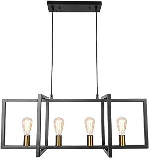 Lingkai Modern Kitchen Island Light Pendant Chandelier 4-Light Ceiling Light Industrial Pendant Lighting Fixture Matte Black with Antique Brass Finish