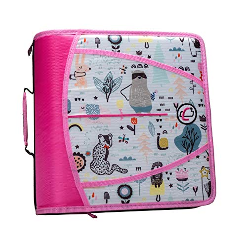 Case-It T641P Zipper Binder, 3-Inch Capacity, with 5-Tab Expanding File, Zip Mesh Pocket, Shoulder Strap, Doodle Creatures Pink