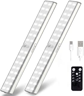 Litake Under Cabinet Lighting 32 LEDs USB Rechargeable Closet Light Remote Control Stick-On Anywhere Wireless Portable Und...