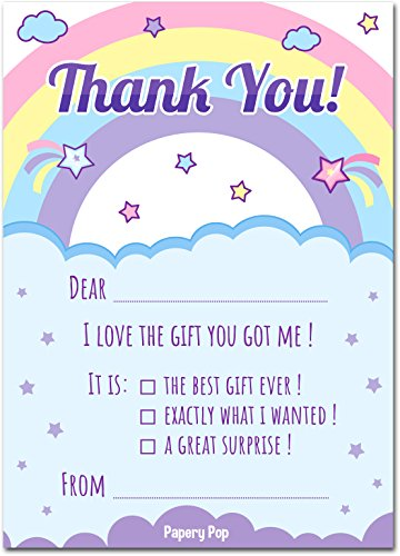 30 Kids Thank You Cards with Envelopes (30 Pack) - Kids Birthday Thank You Notes for Girls