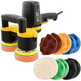 "Custom Shop 4"" Dual Head Variable Speed Random Orbit Dual-Action Polisher with Waffle Foam Buffing and Polishing 12 Pad Kit"