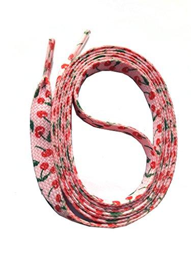 SNORS bedruckte Schnürsenkel KIRSCHEN rosa 140cm, 10mm, Schuhbänder mit Motiv, reißfest, waschbar, Muster Flachsenkel Made in Germany