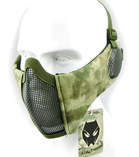 Worldshopping4u Taktische halbe Gesichtsmaske, für Airsoft, Schutz für untere Gesichtshälfte, Geflecht, Nylon, mit Ohrschutz, AT-FG