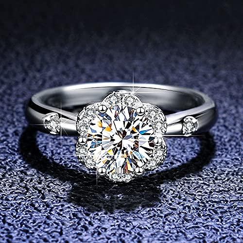 JIUXIAO Plata 925Anillo de Diamante de Laboratorio de Corte Brillante Anillos de Diamante de Laboratorio de Piedras Preciosas chapados en Platino para niña Adolescente