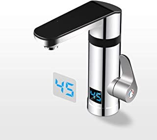 IBalodys Creative LED Intelligent Digital Display Single Cold Sink Sink Faucet Home Rotation Electric Hot Water Tap Instant Hot Electric Hot Water Tap Heater Kitchen and Bathroom Dual-use
