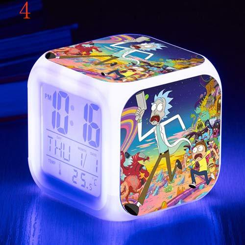 Color que cambia los regalos de los niños Rick y Morty de dibujos animados reloj despertador LED colorido color cambiante reloj estudiante regalo creativo despertador, Nº 4