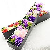 【セール】BIOローズBOXスリム フレグランスソープフラワー ふた付きボックス お祝い 記念日 お見舞い バレンタインデー ホワイトデー 母の日 (パープル)