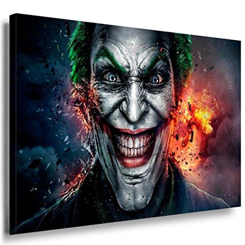 Joker Grinsen Leinwandbild / LaraArt Bilder / Mehrfarbig + Kunstdruck XXL f10 Wandbild 100 x 70 cm