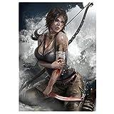 WSHIYI Tomb Raider Lara Croft Sexy Mädchen Wandkunst