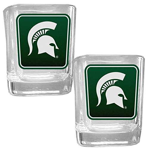 NCAA Siskiyou Sports Fan Shop Michigan State Spartans Square Glass Shot Glass Set 2 pack Team Color