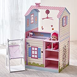 DESIGN: A double-sided doll house and nursery changing station in beautiful fresh pastel colours which enables more interaction and play for multiple children to play at once. Doll not included. INCLUDES: 2 levels of open space with a mobile, cradle,...