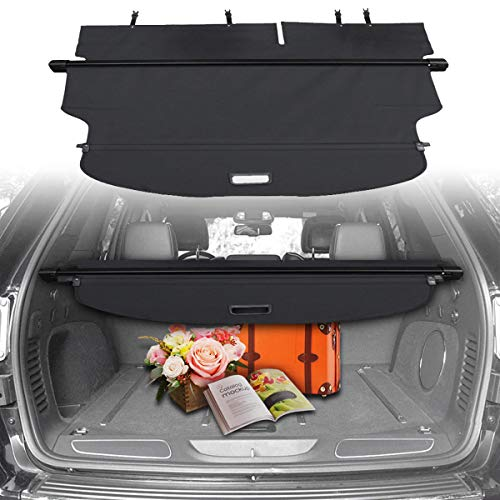 CUMART Cargo Cover Retractable Rear Trunk Security Shield Luggage Shade Compatible with Jeep Cherokee 2014 2015 2016 2017 2018 Black (Not fit for Latitude)