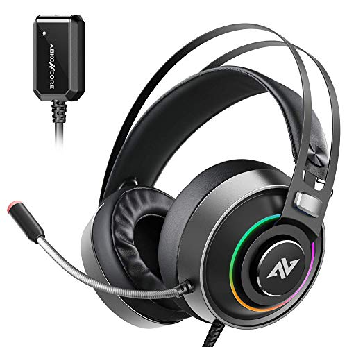 ABKONCORE B719M Pro Gaming Headset with Superb 7.1 Sound Card, Gaming Headphone for PS4, PC, Xbox one, Switch, Laptop, Mac with Noise-Canceling Microphone, Bass Vibration, RGB Light, In-line Control