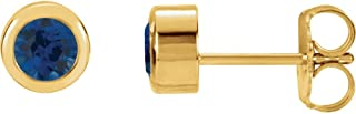 Set 14K Yellow Gold Lab-Created Blue Sapphire 4 mm Pair Polished Chatham Created Blue Sapphire Earrings With Backs