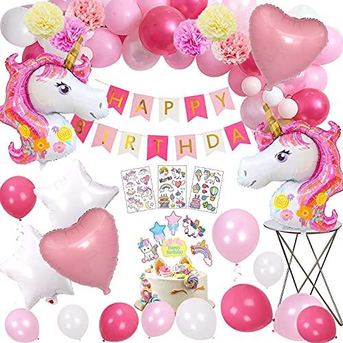 Decoración de Cumpleaños,MMTX 3D Unicornio Fiesta Decoracion Unicornio Globos con 1 Banner,2 Enorme Unicornio Globos,30 Globos,6 Flores de Papel para el Cumpleaño de Niña.