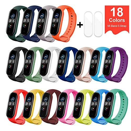 BDIG Pulsera Correas para Xiaomi Mi Band 5,  Colorido Suave Silicona Pulsera Impermeable,  Pulsera Correa para Xiaomi Mi Band 5,  18PCS