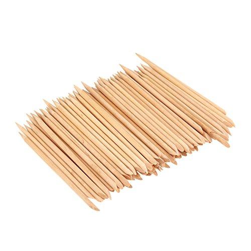Anself 100pcs Nail Art Design Orange Bâton de Bois Cuticle Remover Pusher Manucure, Bâtons en Bois à Extrémités pour Repousser les Cuticules, Professionnel des Soins de Manucure Outils Accessoires