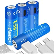 CT ENERGY AA Lithium Batteries Rechargeable 1.5V 1600mAh AA Battery with Micro USB 1.5Hrs Fast Charging Li-ion Double A Batteries (4Pack)