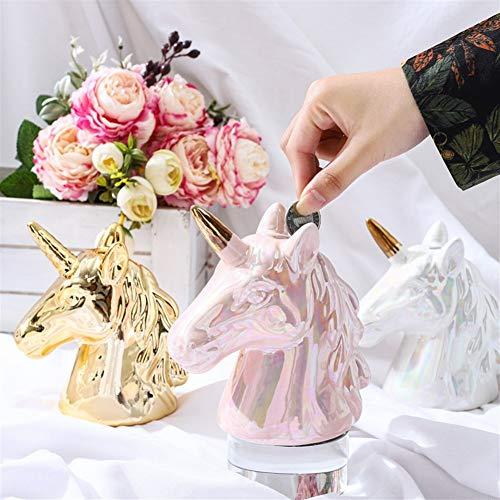 Unicornio Hucha de cerámica Alcancías Unicornio cumpleaños for Las Muchachas Adultos de los niños (Size : Pink)