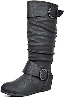 Women's Knee High Wedge Heel Boots (Wide-Calf)