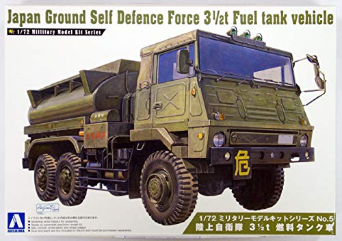 Aoshima 1/72 Scale Japan Ground Self Defense Force 3 1/2Tfuel Tank Vehicle - Plastic Vehicle Model Building Kit # 07952