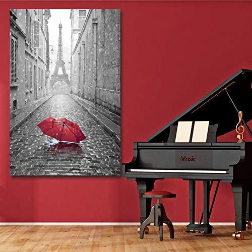 Turm und roter Regenschirm Leinwand Malerei moderne Wandkunst Plakate und Drucke Bilder Wohnkultur Wohnzimmer rahmenlose dekorative Leinwand Malerei A78 30x40cm
