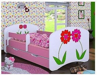 HB Kinderbett mit Matratze und Bettkasten verschiedene Varianten Mädchen ROSA (160x80 cm, Blumen)
