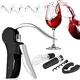 Abridor de vinos de la palanca vertical de la palanca - Xrexs 5 en 1 kit de abridor de botellas de vino premium con cortador de lámina, espiral adicional, tapón de vino al vacío, vino, gran regalo for