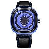 Hyssb Montres Bracelet Montre Imperméable De Quartz De Calendrier De Sports Elliptiques De Mode Visage Bleu De Ceinture Bleue De Shell