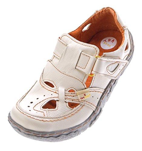 TMA Damen Comfort Leder Sandaletten 7008 Schuhe Weiß Halbschuhe Sandalen Gr. 40