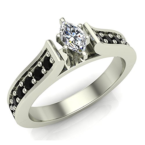 Diamond Engagement rings Marquise cut Black Diamond rings Gift ring box Authenticity cards 1/2 carat t.w. (G, I1) (Ring Size 4.5)