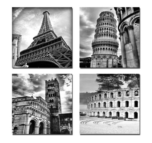 Wieco Art Architectures Modern 4 Panels Giclee Canvas Prints Europe Buildings Black and White