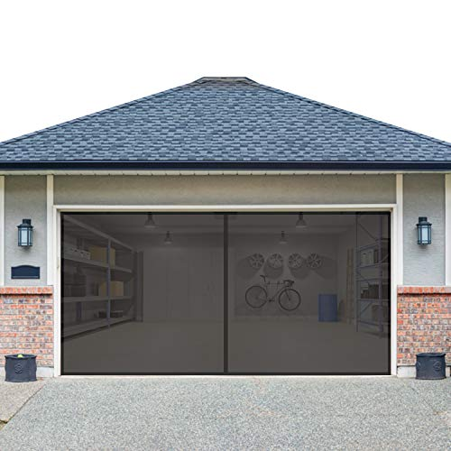 I&K Garage Door Screen - 2 Cars Porch Screen Front - Heavy Duty Mesh Net for Mosquito - Retractable Pull Down Curtain - Tight Self Sealing Magnetic Closure for Quick Entry - Fiberglass - 16x7 Feet