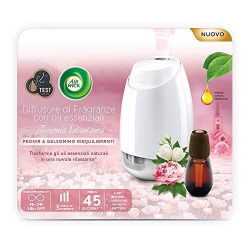 Airwick Difusor de aceites esenciales – 1 paquete con un ambientador para ambiente, una recarga de fragancia peonía y jazmín equilibrantes